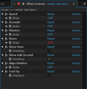 Timer Preset UI After effects